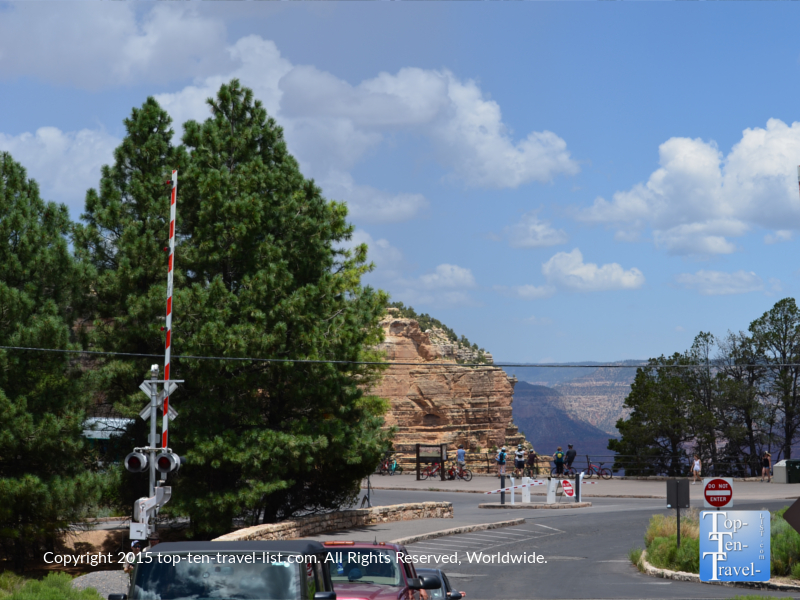 The first glimpse of the Grand Canyon as you enter the Grand Canyon Railway Depot