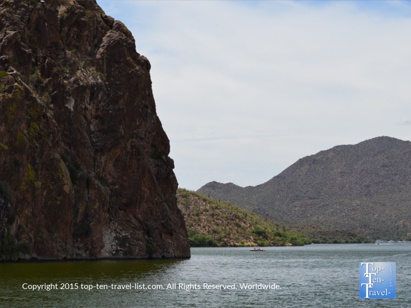 Rock formations on Saguaro Lake in the Tonto National Forest - Mesa, Arizona