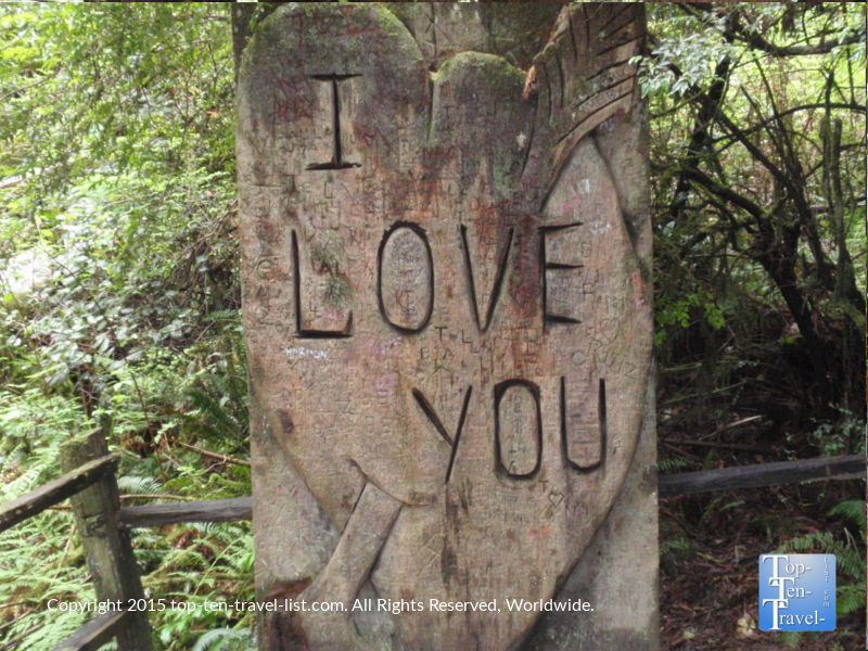 I Love You carving at Trees of Mystery in Northern California