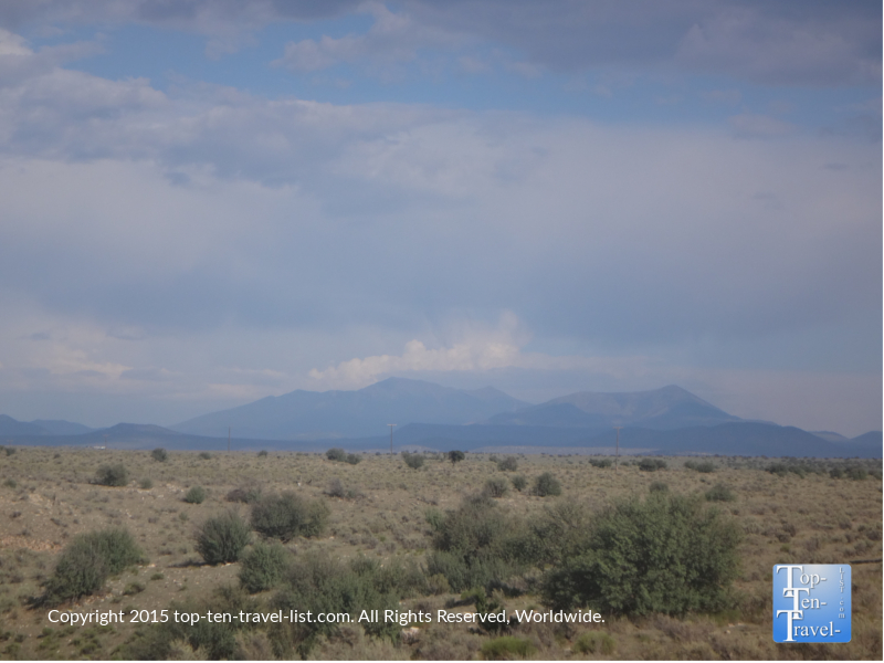 The San Francisco Peaks as seen from the Grand Canyon Railway