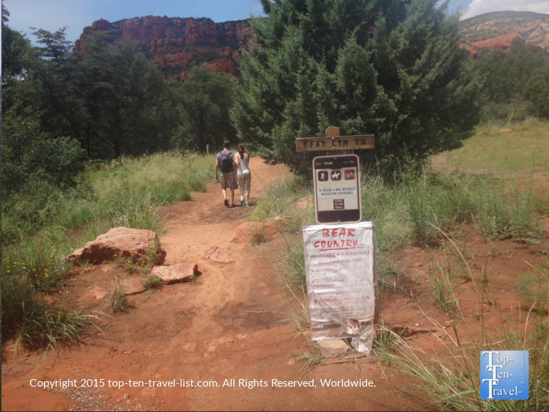 Fay Canyon trail Bear Country warning sign - Sedona, Arizona