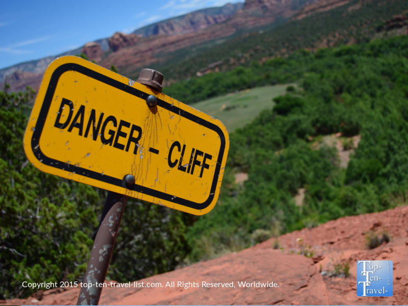 Danger cliff sign at Red Rock State Park in Sedona, Arizona