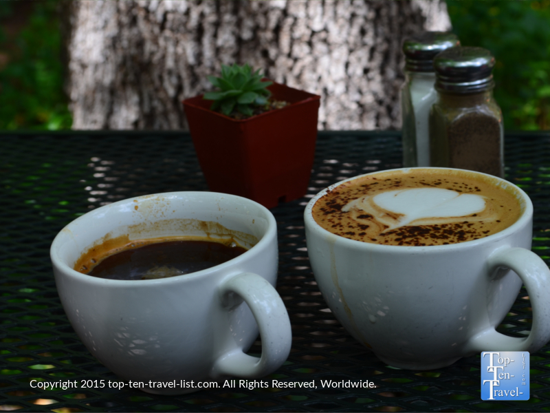 Espresso drinks at Indian Gardens located along Oak Creek Canyon drive in Sedona, Arizona