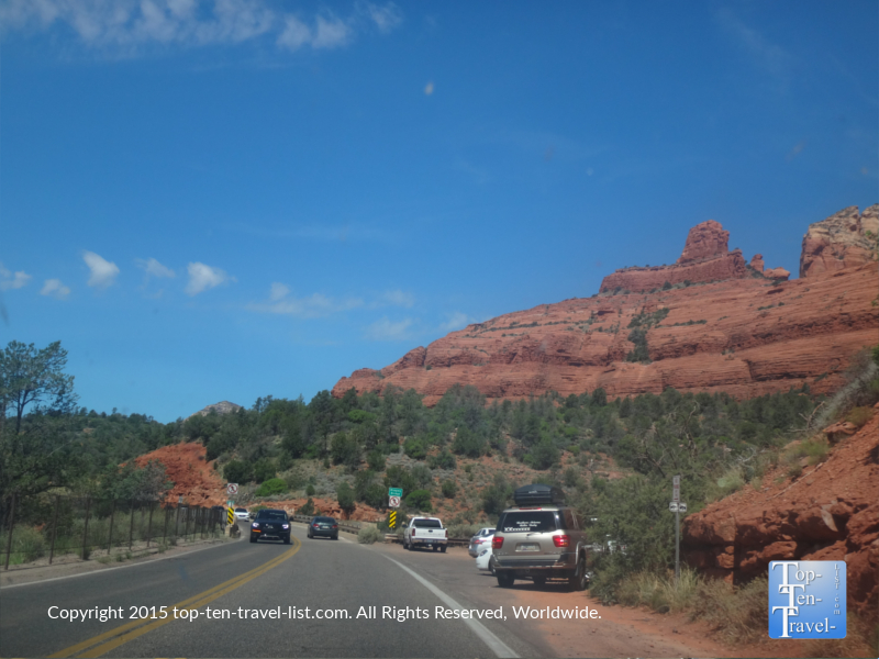 There are many opportunities along the way to take in Sedona's beautiful red rock scenery.