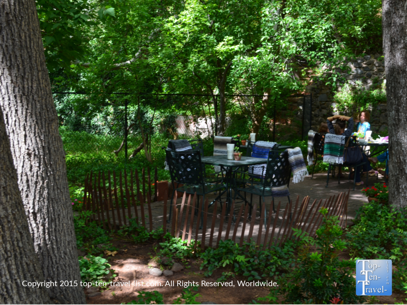 The relaxing patio at Indian Gardens located along Oak Creek Canyon drive in Sedona, Arizona