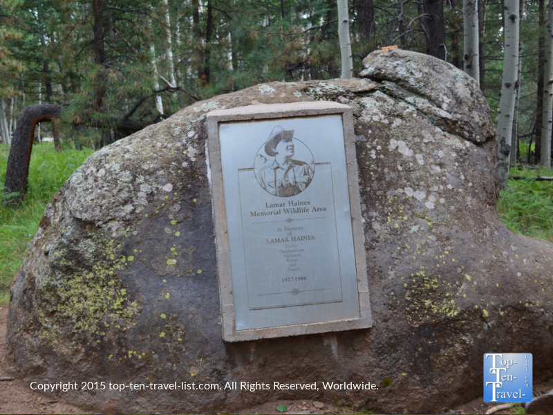 Lamar Haines memorial on Veit Springs loop trail near Flagstaff, Arizona