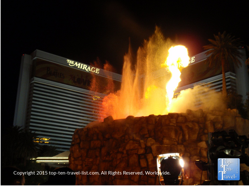 The Mirage volcano eruption show in Las Vegas, Nevada