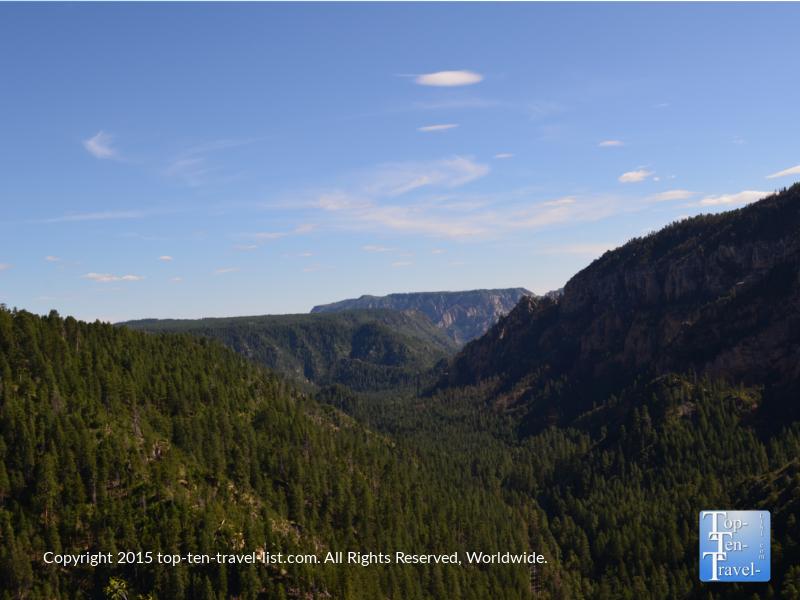 Scenic mountain views from the Oak Creek Canyon Scenic Vista near Flagstaff, Arizona