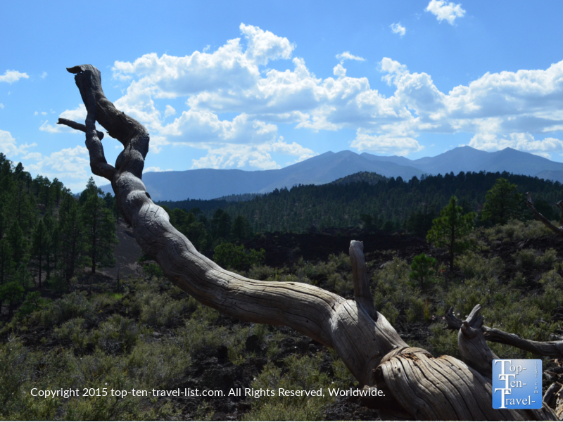 Pretty mountain views at Sunset Crater National Monument in Flagstaff, Arizona