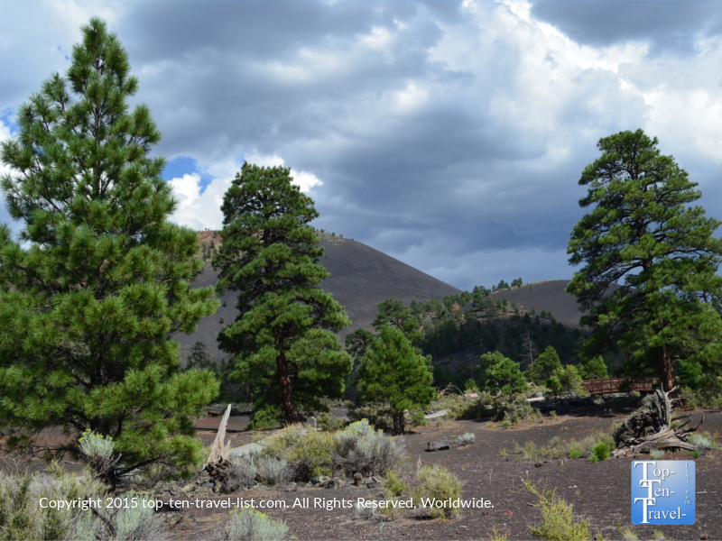 Pretty mountain views along the Lava Flow trail at Sunset Crater National Monument in Flagstaff, Arizona