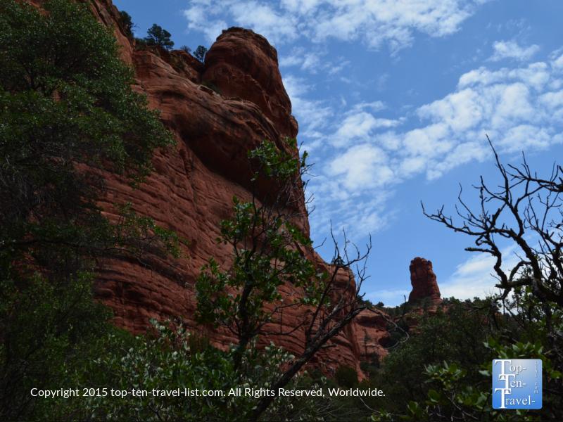 Towering red rock views along the Fay Canyon trail in Sedona, Arizona