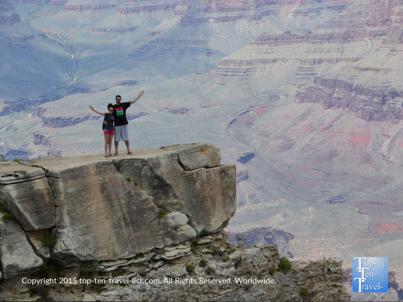 A photo on an overlook at the Grand Canyon South Rim