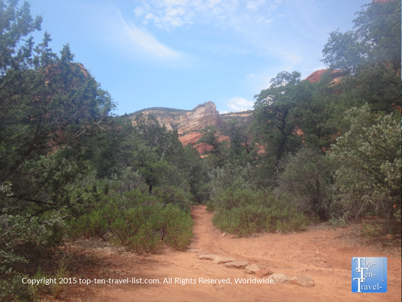 Trees and red rock views on the Fay Canyon trail in Sedona, Arizona