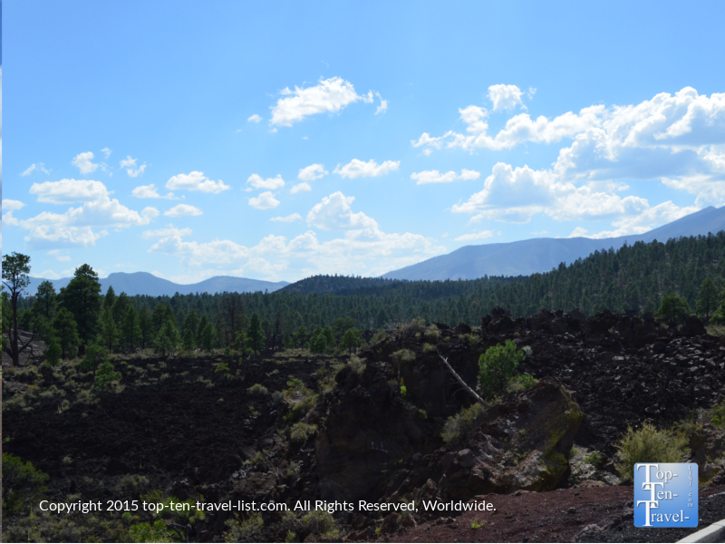 Views of lava flow at Sunset Crater National Monument in Flagstaff, Arizona