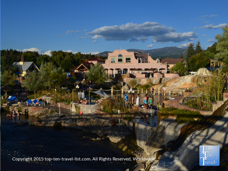 The gorgeous springs and a view of the San Juan River in downtown Pagosa Springs, Colorado