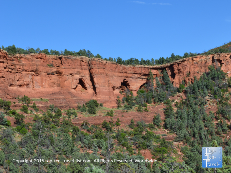 A view of the 3 natural arches seen on the Soldier's Pass trail in Sedona, Arizona