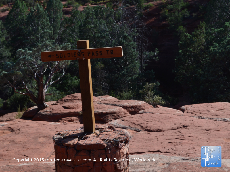 Soldier's Pass trail sign in Sedona, Arizona