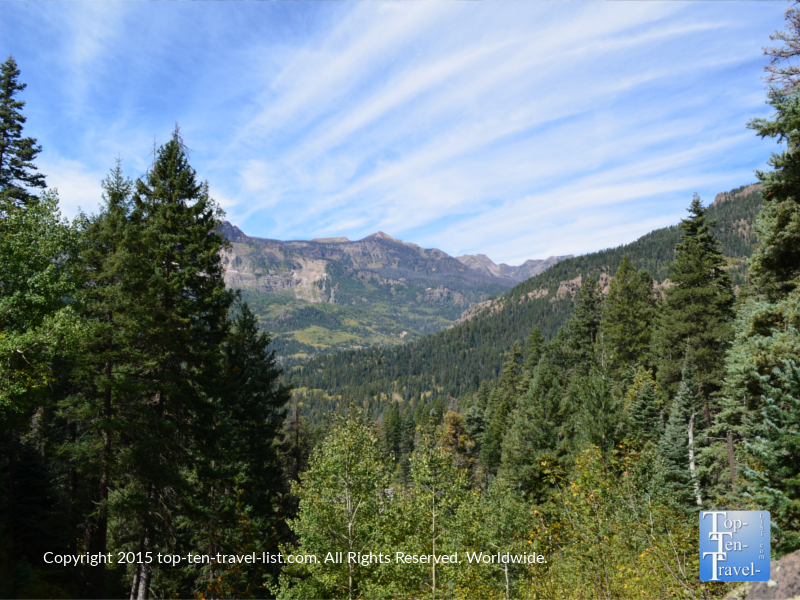 Gorgeous mountain views along the Treasure Falls hike in Pagosa Springs, Colorado