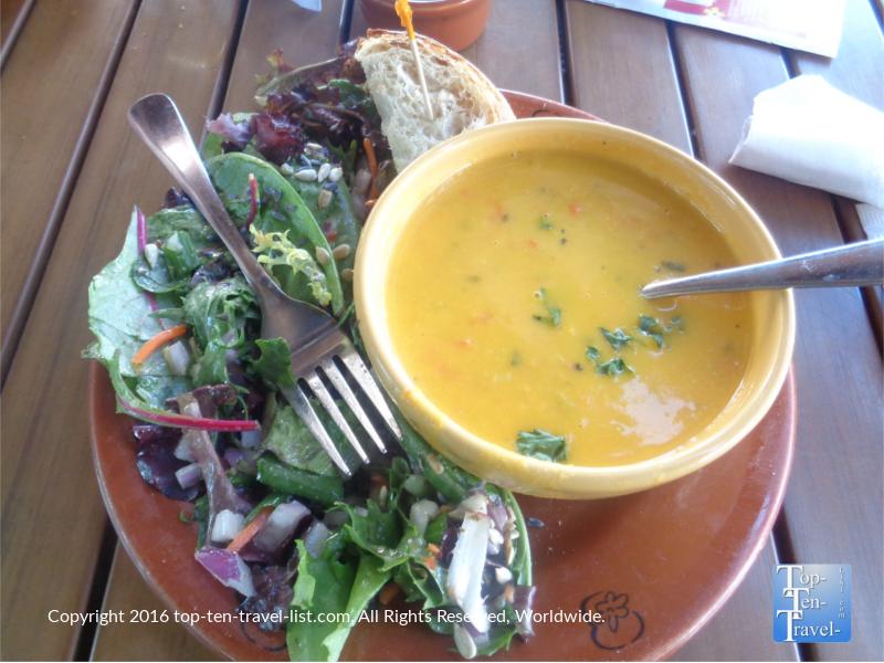 Autumn pumpkin soup at Wildflower Bread in Flagstaff, Arizona