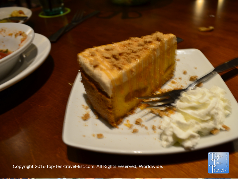 Delicious pumpkin cheesecake at The Olive Garden