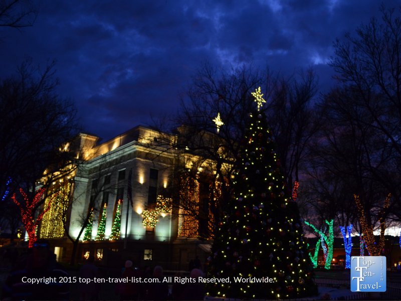 Christmas tree and courthouse lights in downtown Prescott, Arizona