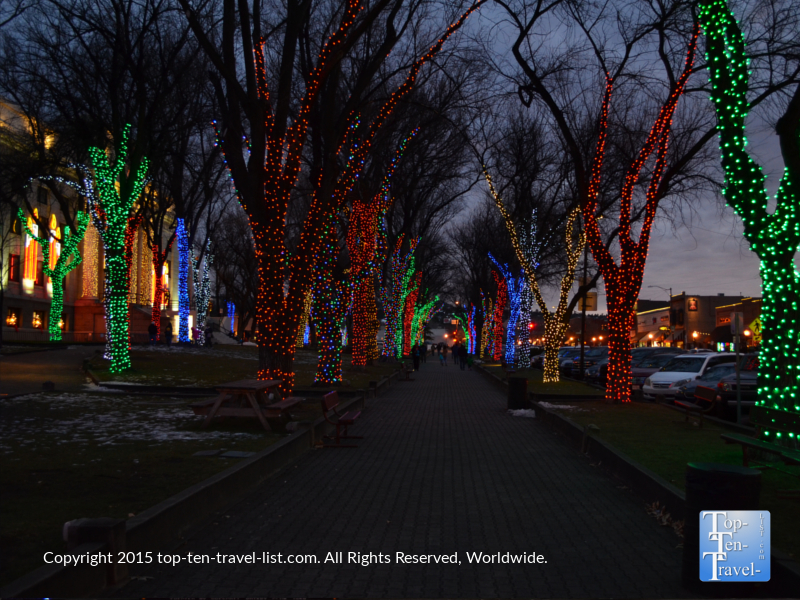 Walking through hundreds of beautifully lit trees at the annual holiday light display at Prescott Arizona's Yavapai County Courthouse