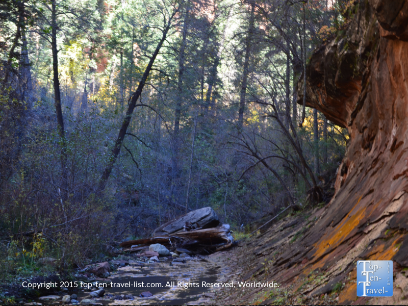 A beautiful view of the creek along the West Fork hiking trail in Sedona, Arizona