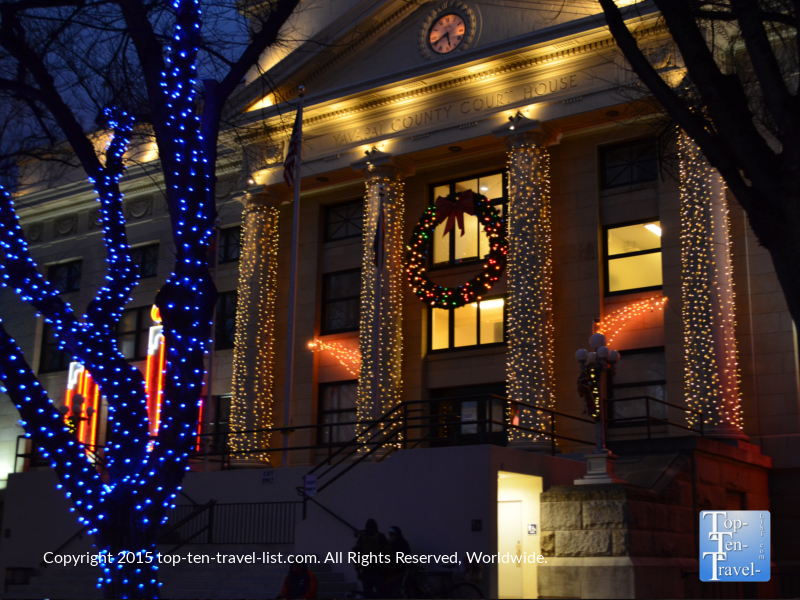 The beautiful holiday light display at Prescott Arizona's downtown courthouse