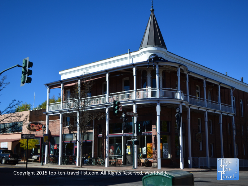 The historic Weatherford Hotel, built in 1904, is one of Flagstaff's most haunted buildings. They put up some nice Halloween decorations and have a great on site restaurant called Charly's Pub.