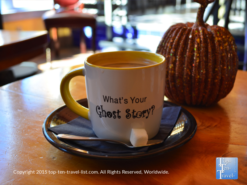 During the Halloween season, the haunted Monte Vista hotel uses festive ghost mugs.