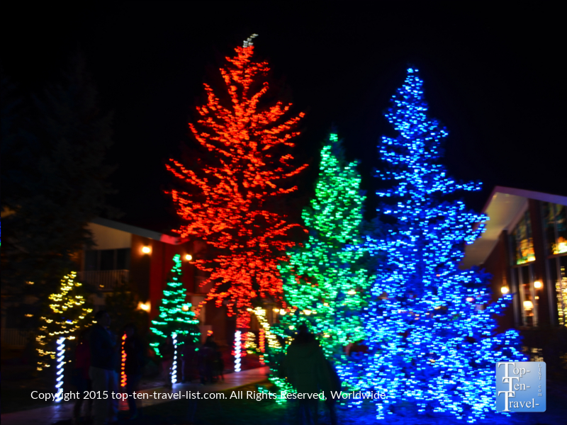 The beautiful holiday lights display at the Little America hotel in Flagstaff, Arizona
