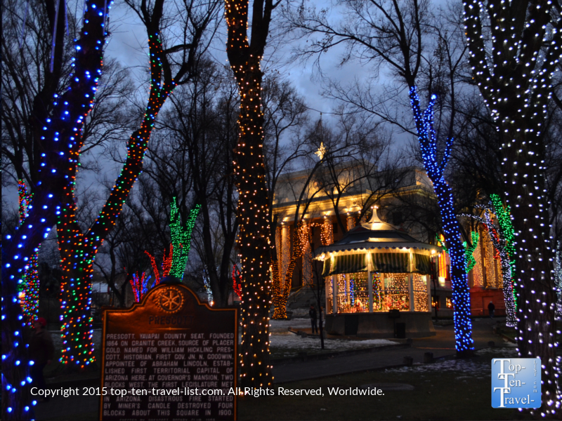 Beautiful holiday lights at the Yavapai County Courthouse in downtown Prescott, Arizona
