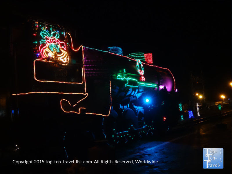 The train at the Grand Canyon Railway festively decorated for the holidays.