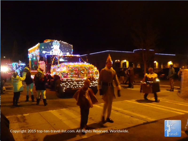 One of the many festive entries in the Flagstaff, Arizona Holiday Lights Parade