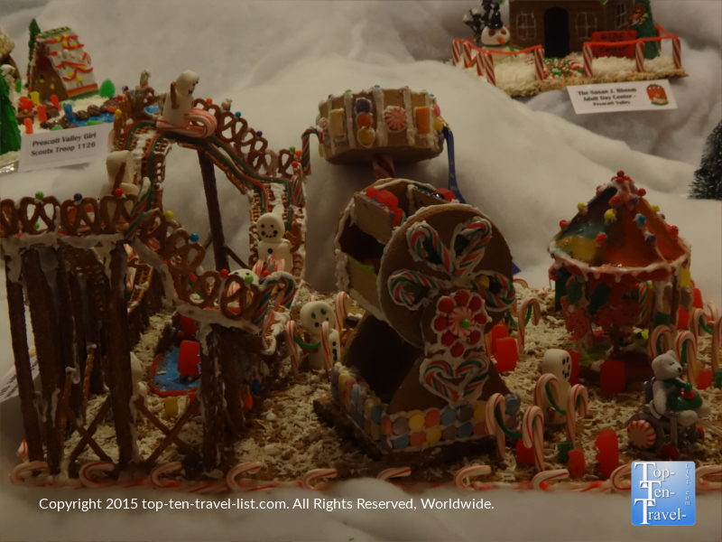 An amusement park themed gingerbread village at the Prescott Resort and Conference Center's annual gingerbread village display