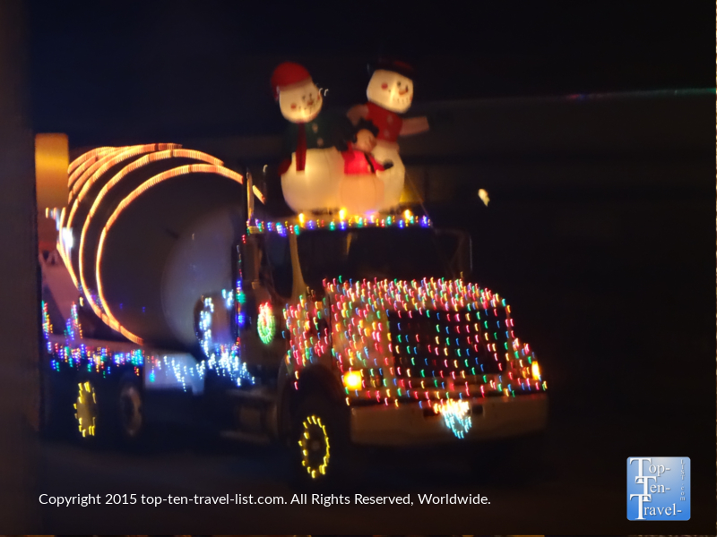 One of the many festive entries in the Prescott Holiday Lights Parade 2015