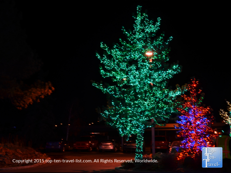 Beautiful holiday lights at the Little America in Flagstaff, Arizona