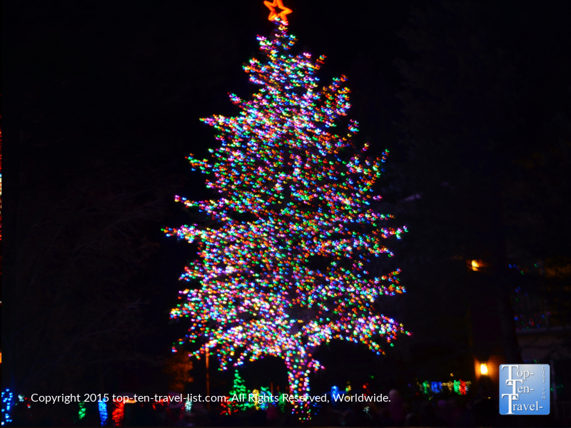 A beautifully decorated tree at the Little America holiday lights in Flagstaff, Arizona