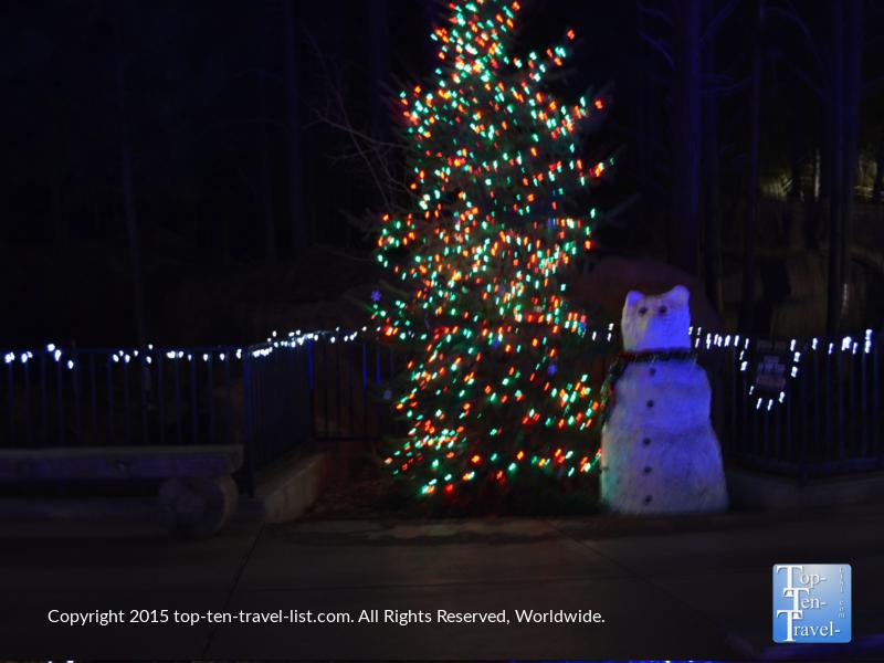 A pretty tree and snowman at the Wild Wonderland at Bearizona in Williams, Arizona