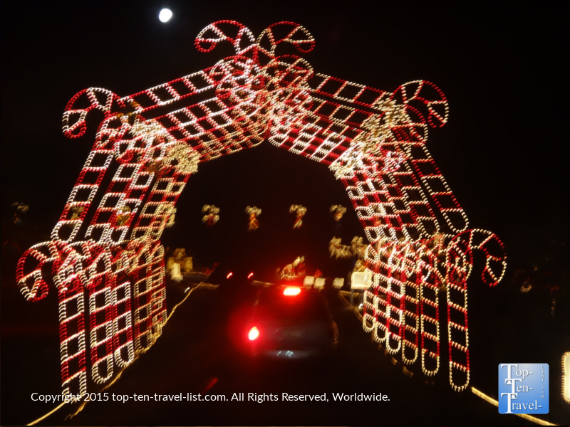 Driving through a candy cane tunnel at Prescott, Arizona's Valley of Lights
