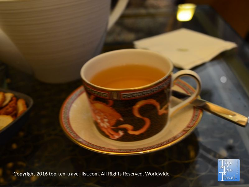 A cup of Organic Lychee Green Tea at the Mandarin Oriental Tea Lounge in Las Vegas, Nevada