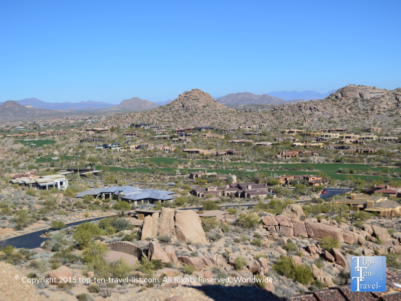 A view of pretty houses and golf courses from the Pinnacle Peak trail in Scottsdale, Arizonark in Scottsdale
