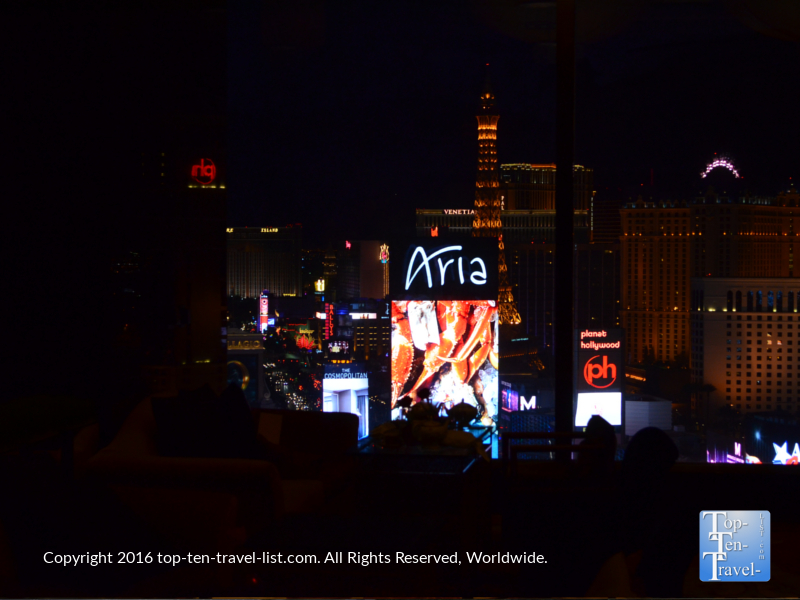 A view of the Aria from the Mandarin Oriental Tea Lounge in Las Vegas, Nevada
