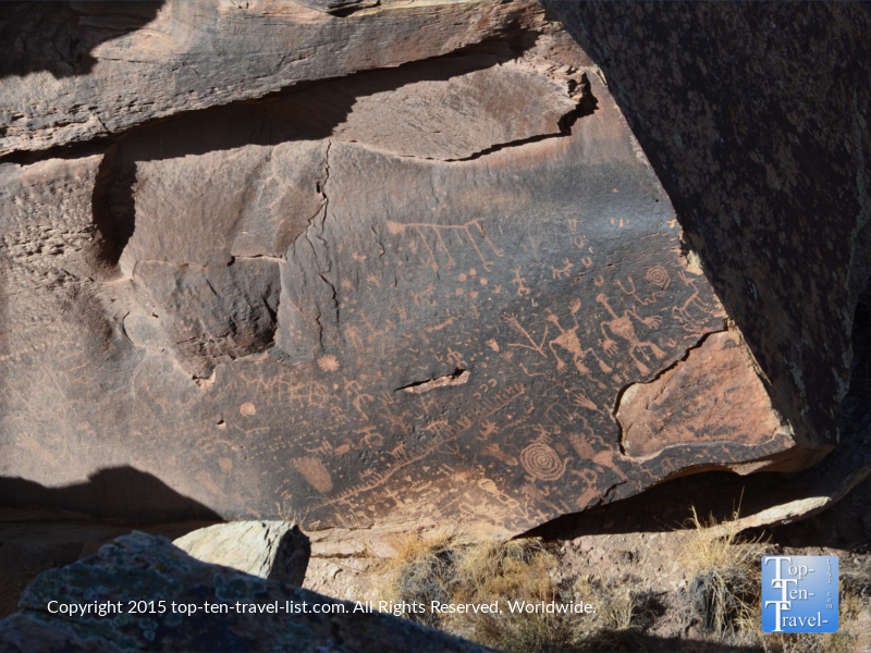 Newspaper Rock petroglyphs at the Petrified National Forest