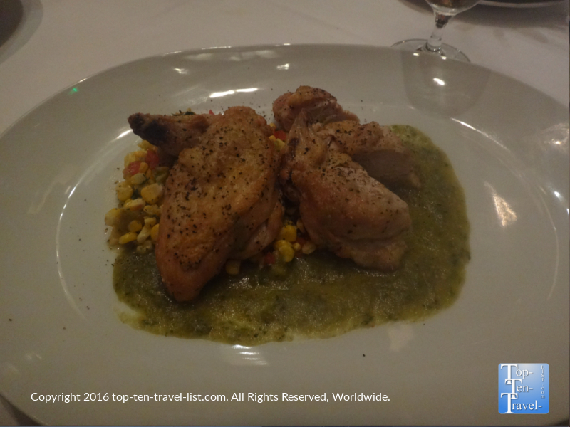 The delicious Pan Roasted Chicken entree.
