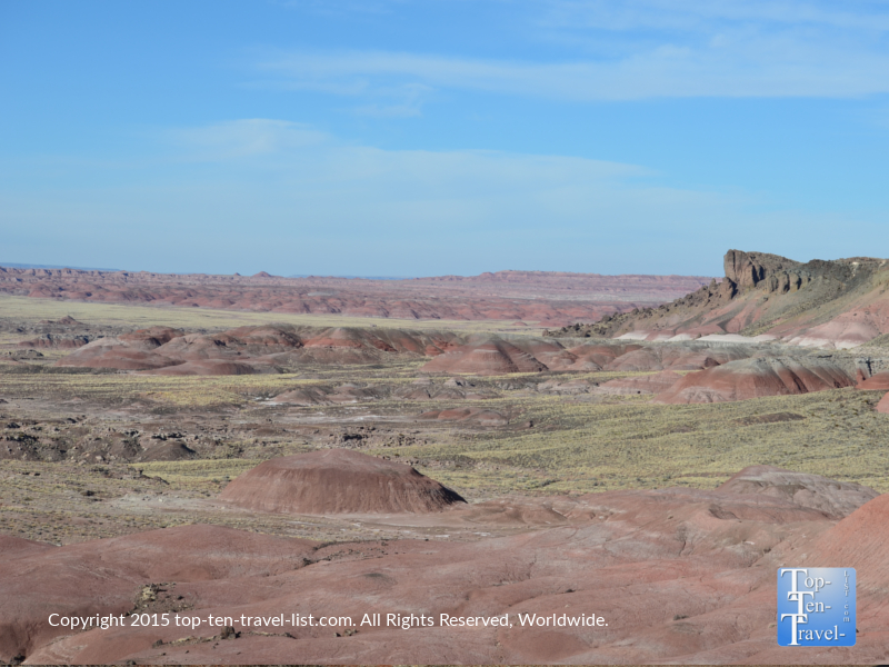Views of the Painted Desert from an overlook at Petrified National Forest