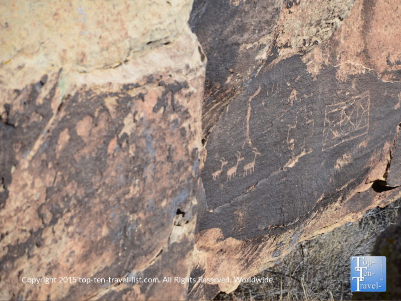 Ancient petroglyphs seen along the Puerco Pueblo trail at the Petrified National Forest