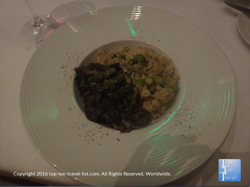 The delicious Wild Mushroom and Asparagus Risotto, a vegan and gluten-free option.
