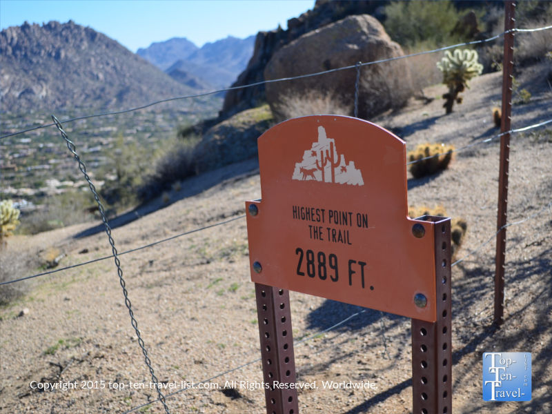 The highest point on the Pinnacle Peak Park trail in Scottsdale, Arizona