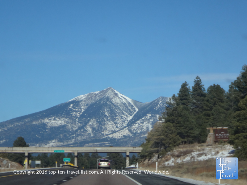 Driving into Flagstaff, Arizona during the winter season